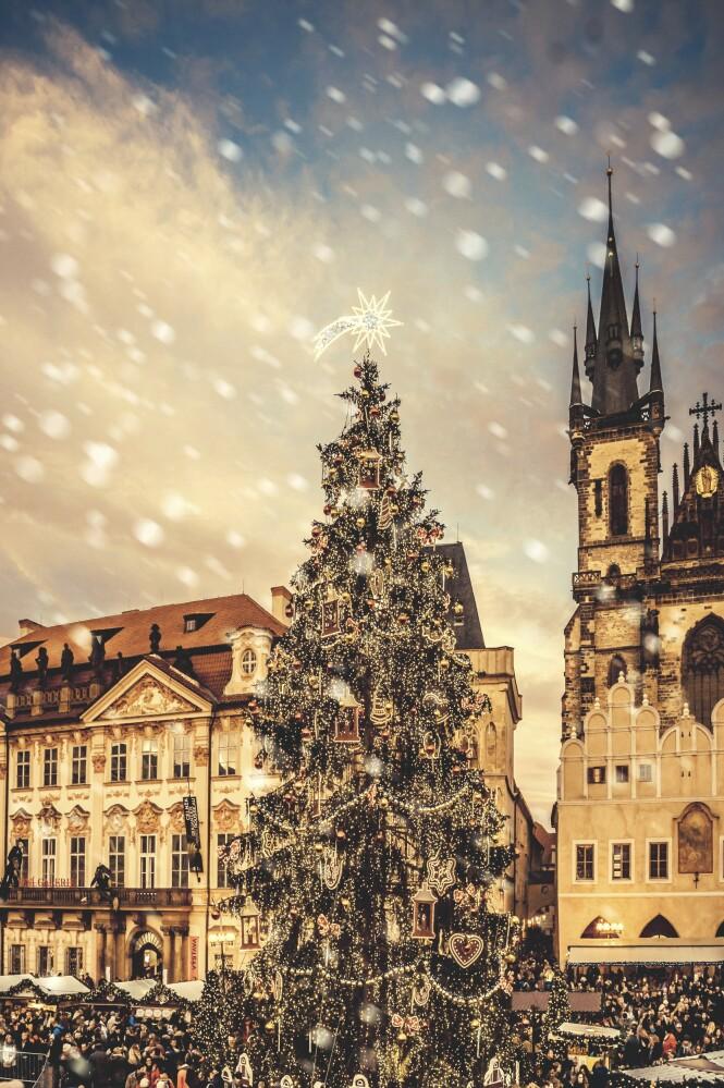 Staromestske namesti er navnet på den gamle rådhusplassen. Her ligger det største og fineste julemarkedet med byens største juletre. FOTO: NTB Scanpix