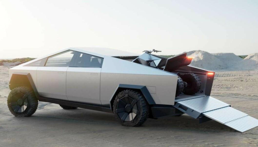 <strong>EN BIL FOR BOND?:</strong> Teslas Cybertruck er inspirert av filmer som «Blade Runner» og «The Spy Who Loved Me». Foto: Tesla