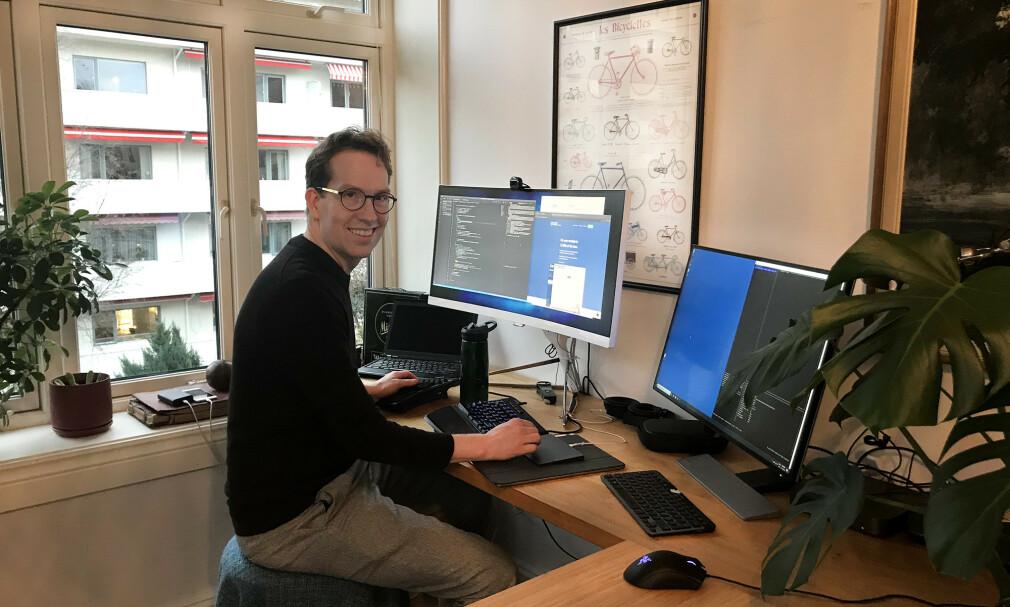 Daniel bygger Receipt Runner fra hjemmekontoret. 📸: Privat
