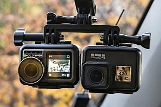 SLIKE TESTET VI: Kameranene var montert likt på en brakett under innspilling for å gi best mulig sammenlignings grunnlag. Foto: Jamieson Pothecary