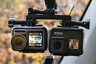 <strong>SLIKE TESTET VI:</strong> Kameranene var montert likt på en brakett under innspilling for å gi best mulig sammenlignings grunnlag. Foto: Jamieson Pothecary