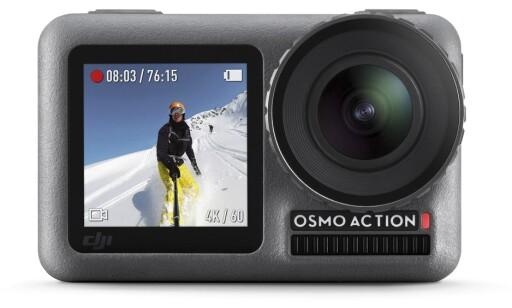 SMART: Osmo Action har skjerm både foran og bak. Genialt til selfie-filming. Dekselet til optikken kan lett skrus av og for å montere filter eller byte etter behov Foto: DJI