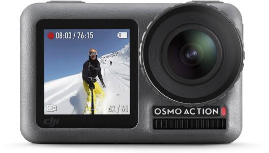 <strong>SMART:</strong> Osmo Action har skjerm både foran <br>og bak. Genialt til selfie-filming. Dekselet til <br>optikken kan lett skrus av og for å montere <br>filter eller byte etter behov Foto: DJI