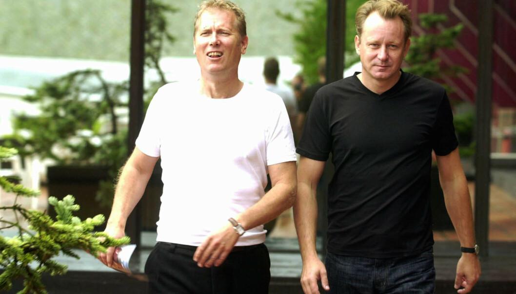 DEN GANG DA: Hans Petter Moland og Stellan Skarsgård fotografert under Filmfestivalen i Haugesund i 2000. FOTO: Heiko Junge // NTB scanpix