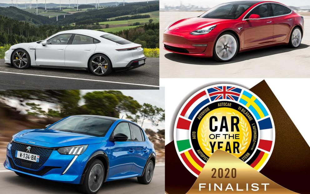 ELEKTRISKE KANDIDATER: Tre fullelektriske kandidater er i finaleheatet for Årets Bil 2020 i Europa.
