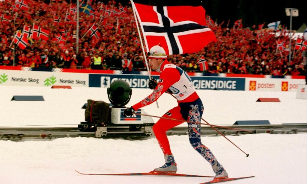 Gull og glitter: Fluorsmøringen har sørget for glid og gull for Norge i mer enn 30 år. Her fra VM på hjemmebane i Trondheim i 1997. Foto: Rune Petter Ness, NTB Scanpix