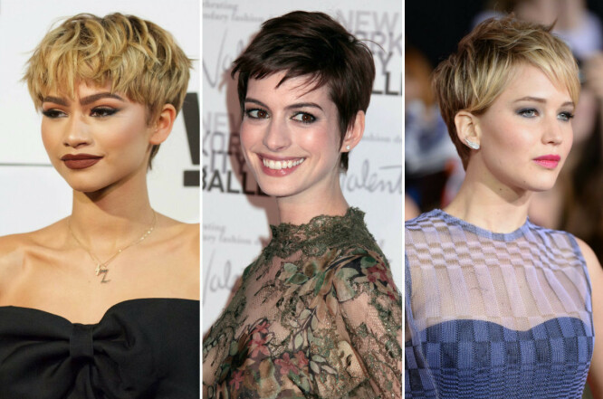 KORT: Både Zendaya (f. v.), Anne Hathaway og Jennifer Lawrence har prøvd seg på pixie cut i løpet av de siste årene – og alle tre så fantastiske ut! FOTO: Scanpix