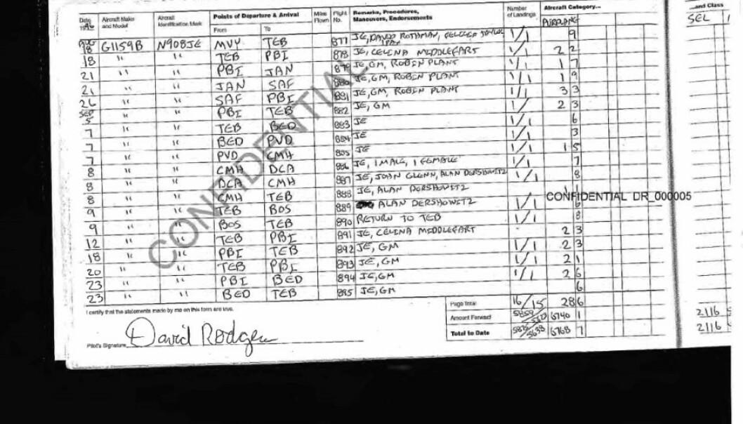 <strong>PASSASJER:</strong> To ganger i løpet av høsten 1995 fløy Celina Midelfart med Jeffrey Epstein i hans privatfly. Det viser dokumenter som nylig ble offentliggjort. Foto: US Court of Appeals