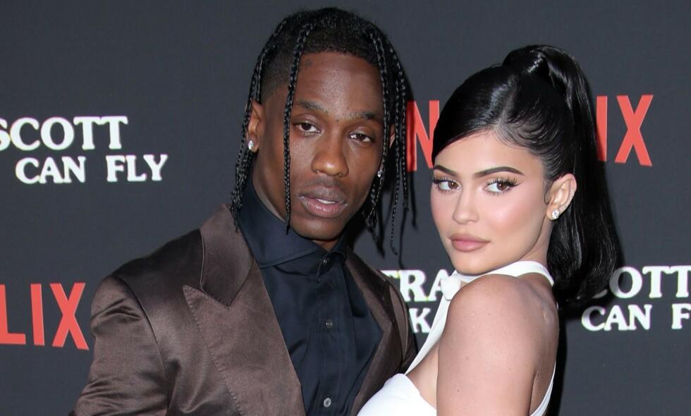 PAUSE: I oktober kom nyheten om at Kylie Jenner og Travis Scott hadde tatt en pause i sitt to og et halvt år lange forhold. Foto: NTB Scanpix