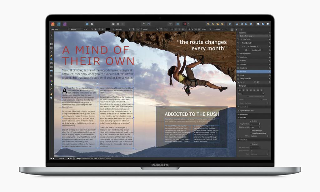 LAG DINE EGNE DESIGN: Apple hevder det ikke finnes noen terskel for å prøve deg på Affinity Publisher. Det får stå for deres regning, men den er blant de lettere vi har vært borti.