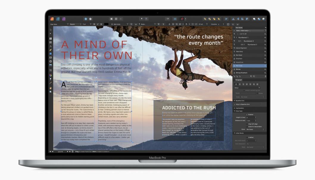 <strong>LAG DINE EGNE DESIGN:</strong> Apple hevder det ikke finnes noen terskel for å prøve deg på Affinity Publisher. Det får stå for deres regning, men den er blant de lettere vi har vært borti.