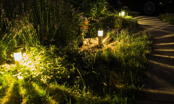 <strong>VIRKER STØRRE:</strong> Riktig lyssetting gjennom hagen kan få området til å se større ut, ifølge Haave. Foto: NTB Scanpix.