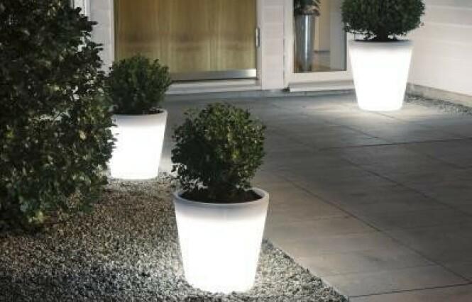 <strong>DEKOR:</strong> Blomsterpotter med LED som også fungerer som et dekorativt utelys. Foto: Konstsmide.
