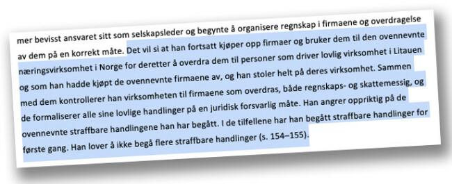 DOMMEN: Han angrer oppriktig på de straffebare handlingene han har begått, heter det i dommen (faksimile av oversettelse)