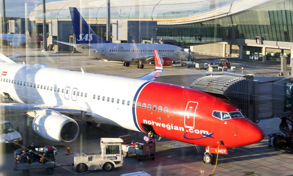 OSLO  20170511. Norwegian og SAS fly på Gardermoen. Foto: Gorm Kallestad / NTB scanpix