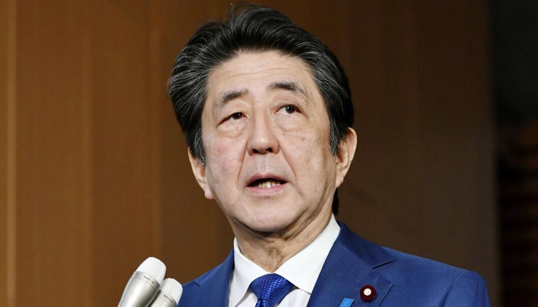 <strong>REDNINGSPAKKE:</strong> Japans statsminister Shinzo Abe la torsdag fram en økonomisk pakke som skal stimulere landets økonomi. Foto: Kyodo News via AP / NTB scanpix