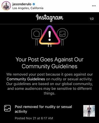 <strong>SENSUR:</strong> Instagram var klar i sin sak på hvorfor de fjernet sangstjernas bilde. Foto: Skjermdump fra Instagram