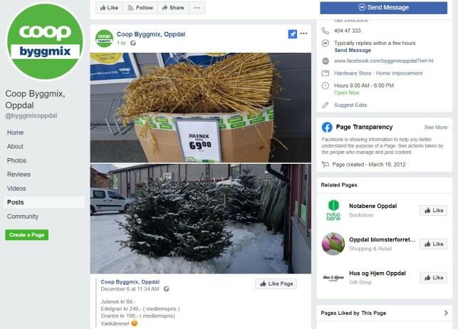 JULETRESALG: Coop Byggmix i Oppdal reklamerer på Facebook med billige juletrær. Foto: skjermdump.