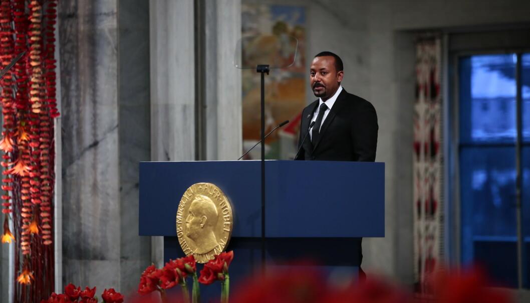 – Jeg aksepterer prisen på vegne av alle afrikanere, sa Etiopias statsminister Abiy Ahmed da han mottok Nobels fredspris i Oslo rådhus. Foto: Håkon Mosvold Larsen / NTB scanpix