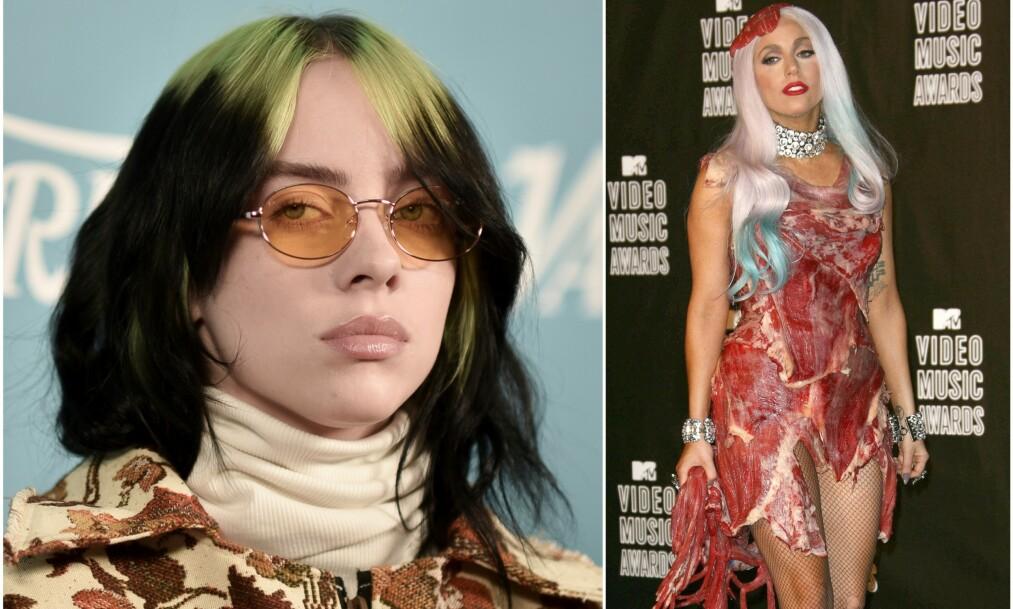 FÅR GJENNOMGÅ: Det skulle ikke mer enn ett ord om Lady Gagas antrekk til, før Billie Eilish fikk fanskaren til Gaga på nakken. Foto: NTB Scanpix