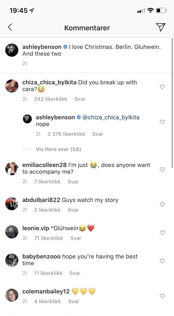 <strong>AVKREFTER:</strong> Ashley Benson svarte like så godt fansen på spørsmål om det er brudd med modellkjæresten. Foto: Skjermdump fra Instagram