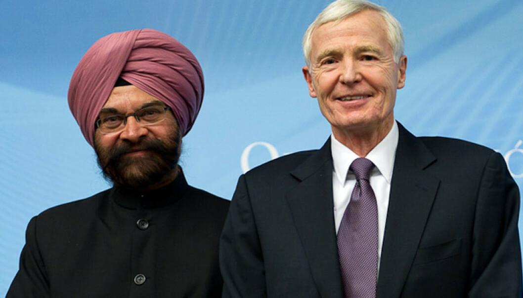 <strong>KRISE-PENSJON:</strong> Indiske Ujal Singh Bhatia og amerikanske Thomas R. Graham utgjorde to tredeler av det som på folkemunne er kjent som «verdenshandelens høyesterett». Tirsdag gikk de av med pensjon, noe som har utløst krise i WTO. Foto: WTO