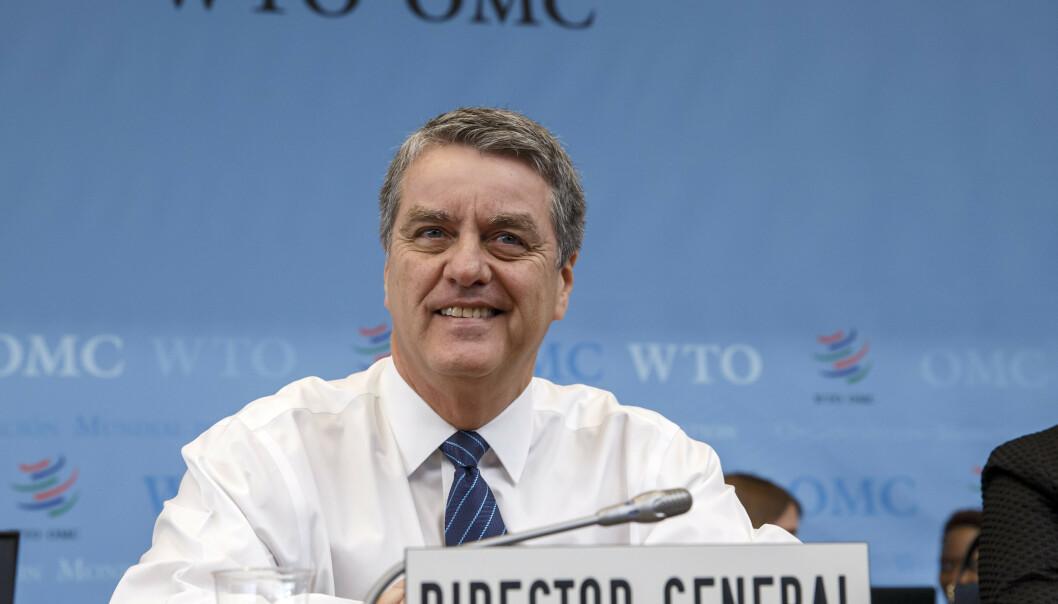 <strong>SATT UT AV SPILL:</strong> WTO-sjef Roberto Azevedo konstaterer at WTOs ordning for å løse tvistesaker, er satt ut av spill. Men han håper på en løsning før ministermøtet i juni neste år. Foto: Salvatore Di Nolfi / Keystone / AP / NTB scanpix