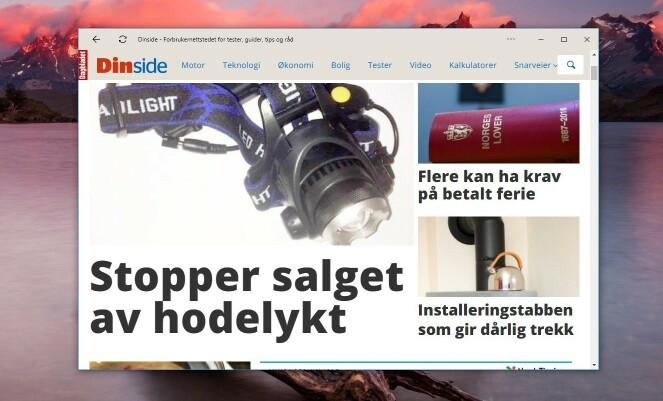 Du kan installere Dinside.no som en app på PC-en din.