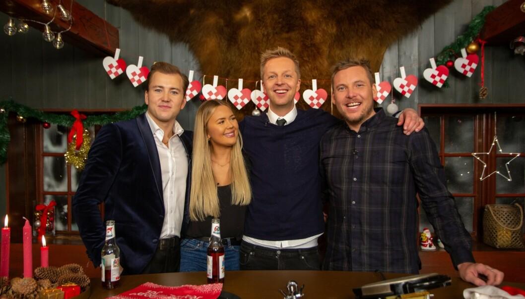 <strong>GJEST:</strong> Grunde er en av mange kjendiser som stikker innom kalenderen. Han hadde med seg julebrus for anledningen. Foto: TVNorge