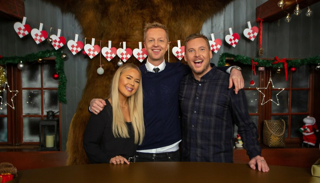 <strong>MED PÅ ALT:</strong> Rikke, Fridtjof og Niklas er med i julekalenderen fra første til siste luke. Foto: TVNorge
