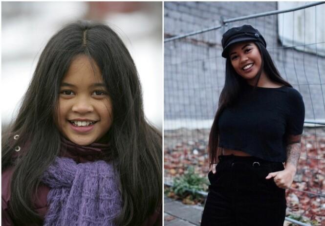 FØR OG NÅ: Yvonne spilte Akaya i Jul i Svingen, men har foreløpig lagt skuespillerkarrieren på hylla. Hun ser imidlertid ikke bort ifra at hun vil være med på noe igjen en gang i fremtiden. FOTO: Ole Kaland, NRK og Privat