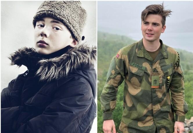 FØR OG NÅ: I Julekongen spiller Oscar karakteren Peder Krohn, som er Kevins uvenn. FOTO: Jørn Veberg/NRK og Privat