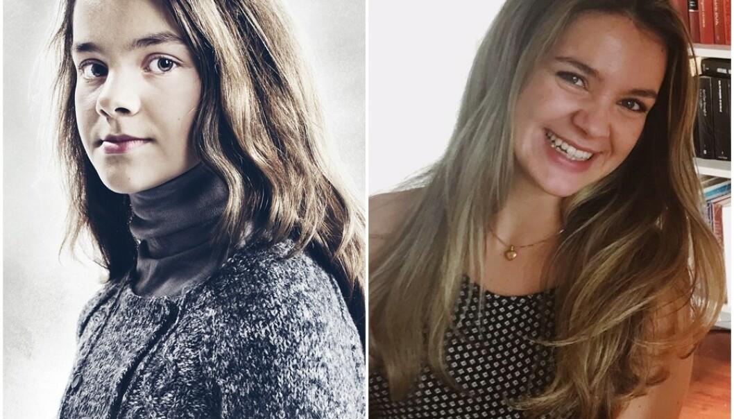 FØR OG NÅ: I Julekongen spiller Emma karakteren Eiril. FOTO: Jørn Veberg/NRK og Privat