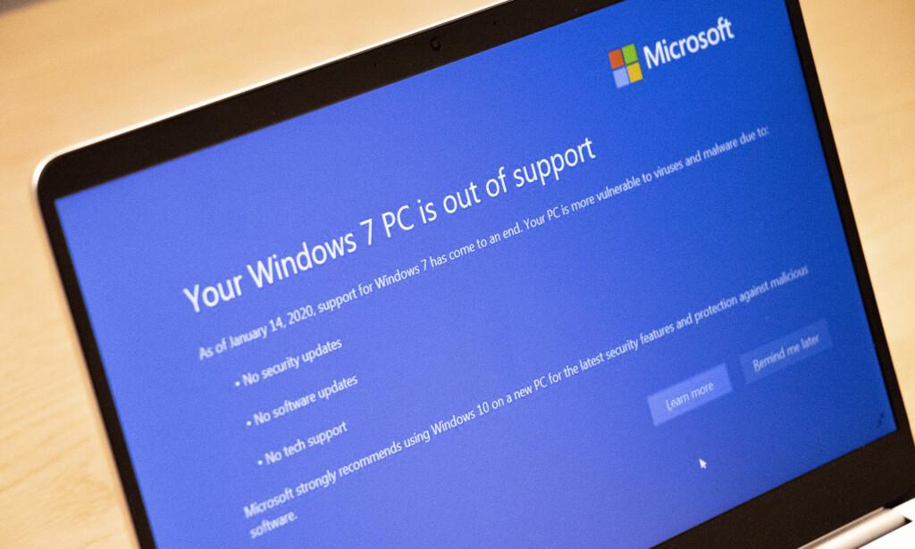 SNART SLUTT: Windows 7 vil snart ikke lenger motta viktige oppdateringer – da haster det for brukerne å oppdatere til et operativsystem som er støttet. Foto: Martin Kynningsrud Størbu
