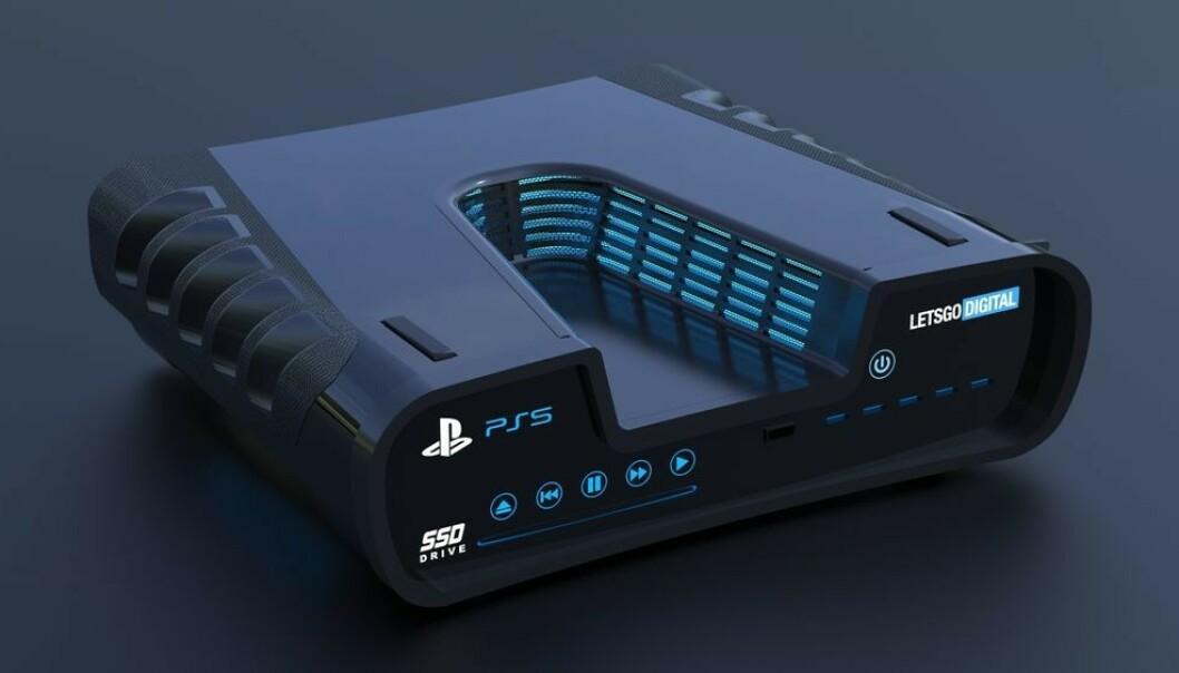 <strong>PLAYSTATION 5-KONSEPT:</strong> Skissen er spenstig, men vi blir mildt sagt overrasket hvis den endelige PlayStation 5 blir seende slik ut. Foto: Let's Go Digital