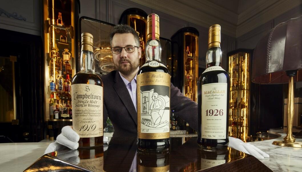 <strong>GÅR UNDER HAMMEREN:</strong> De edle dråpene, bestående av 3900 flasker, har en estimert totalverdi på 100 millioner norske kroner. Foto: Whisky Auctioneer