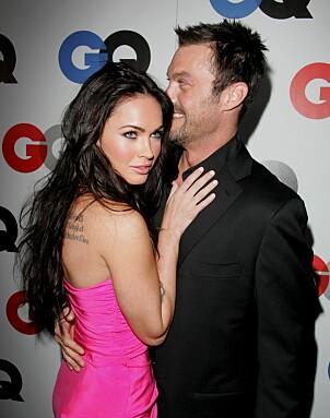 <strong>DEN GANG DA:</strong> I forbindelse med GQs Man of the Year-fest i 2008 var Megan og Brian på den røde løperen sammen. Foto: NTB Scanpix
