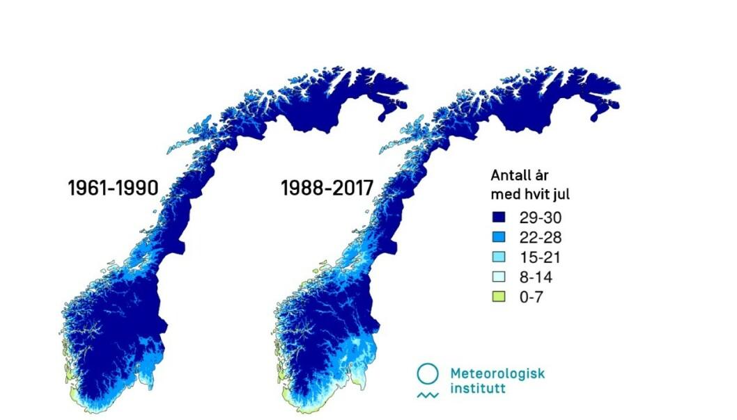 <strong>ENDRINGER:</strong> Disse kartene viser hvor mange ganger det har vært 10 millimeter snø på bakken på julaften, til venstre i perioden 1961 til 1990, til høyre perioden 1988 til 2017.  FOTO: CRISTIAN LUSSANA OG KETIL ISAKSEN/METEOROLOGISK INSTITUTT
