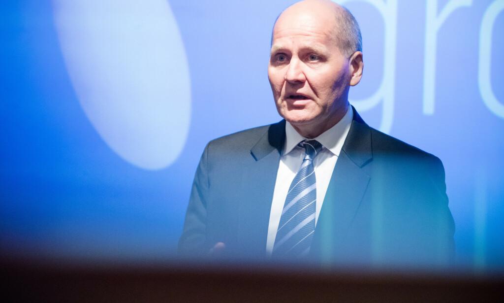 DROPPER HUAWEI: Telenor har bestemt at Ericsson skal være hovedleverandør for det nye 5G-nettet. Det skriver de i en børsmelding fredag. Her representert ved konsernsjef Sigve Brekke. Foto: Audun Braastad / NTB scanpix