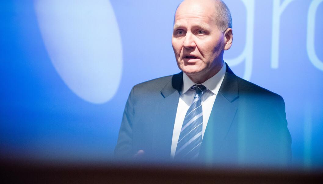 <strong>DROPPER HUAWEI:</strong> Telenor har bestemt at Ericsson skal være hovedleverandør for det nye 5G-nettet. Det skriver de i en børsmelding fredag. Her representert ved konsernsjef Sigve Brekke. Foto: Audun Braastad / NTB scanpix