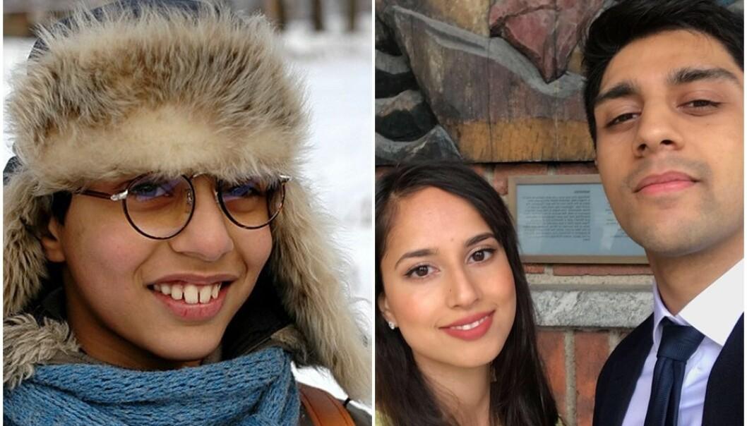 FØR OG NÅ: Hassan Iqbal spilte rollen som Atif i Jul i Svingen. Her sammen med kjæresten Sumita Rani. FOTO: Lars Halvor Aga/NRK og Privat