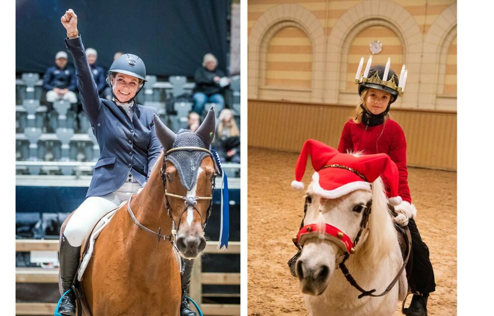 HESTEJENTER: Det er ingen tvil om at prinsesse Estelle og prinsesse Märtha Louise er to hesteglade jenter! FOTO: NTB scanpix og Sara Friberg/Kungl. Hovstaterna