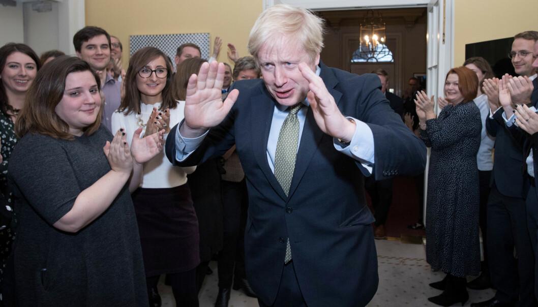 <strong>VALGVINNER:</strong> Statsminister Boris Johnson sitter trygt og kan gjennomføre bruddet med EU, men det vanskeligste gjenstår. Foto: NTB Scanpix/ Reuters
