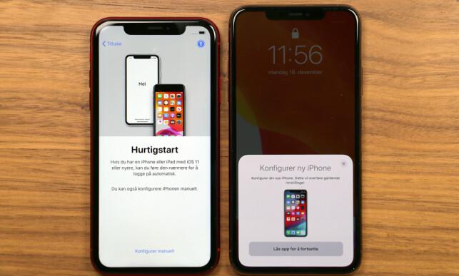 ENKELT FRA IPHONE TIL IPHONE: For å overføre innhold fra gammel til ny iPhone er det bare å føre de to enhetene nær hverandre (om de kjører iOS 11 eller nyere, riktignok). Foto: Kirsti Østvang