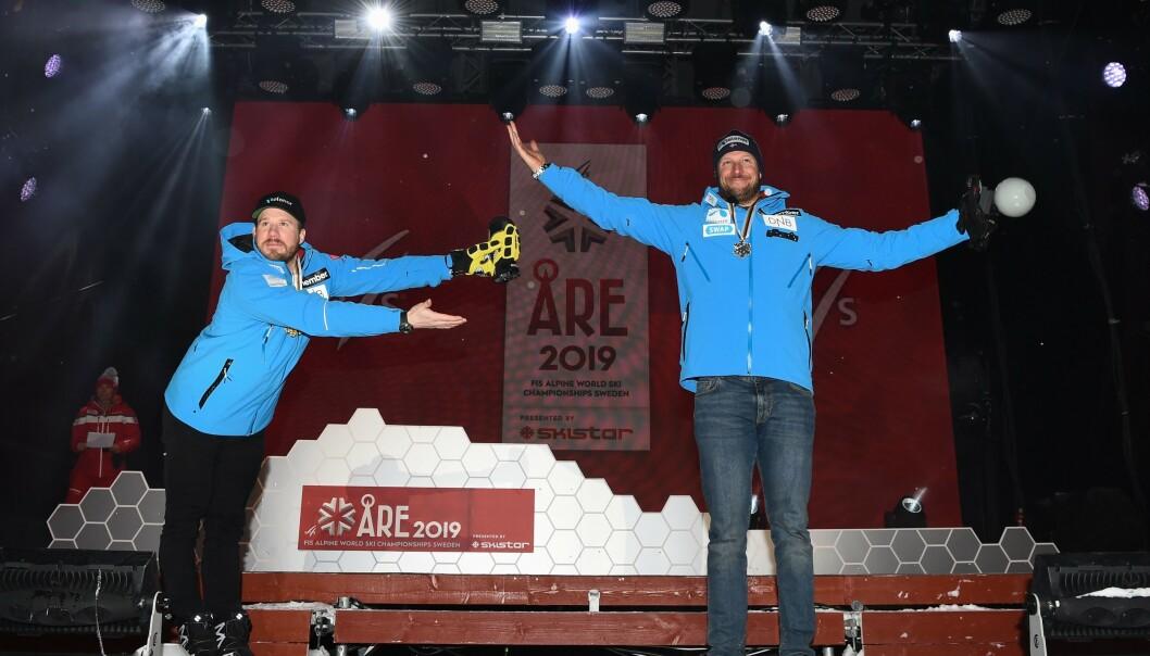 LA OPP: Kjetil Jansrud og Aksel Lund Svindal under medaljeseremonien i Åre 2019. Jansrud tok gull, mens Svindal tok sølv. Etter dette valgte han å legge opp.