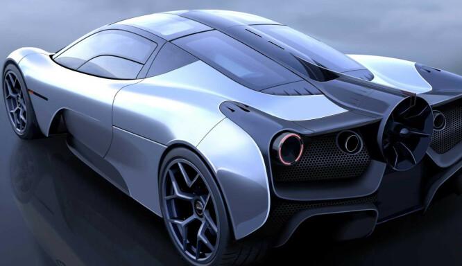 <strong>LEKKER:</strong> Murray har aldri vært fan (haha) av store vinger og synlige aerodynamiske virkemidler, men denne hekken går ingen upåvirket fra. Illustrasjon. Gordon Murray Design