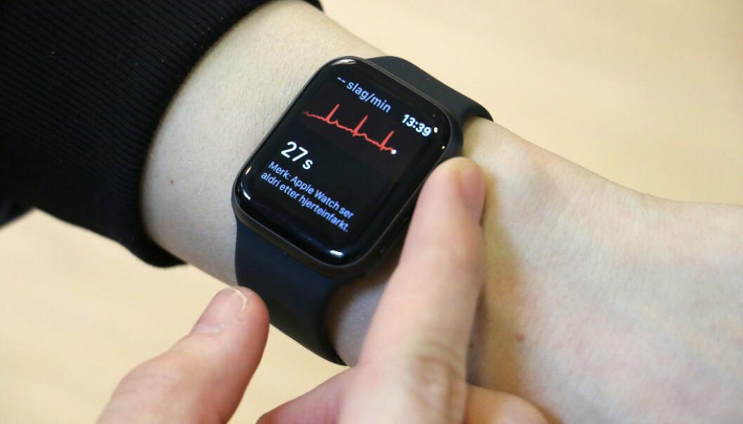 <strong>DIN HJERTERYTME:</strong> Når du tar en EKG-måling, vil du se din egen hjerterytme på skjermen i sanntid. Foto: Martin Kynningsrud Størbu