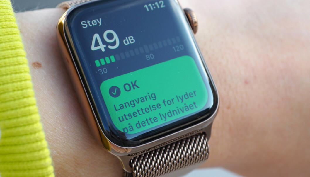 <strong>HØRSELHELSE:</strong> Med den nyeste oppdateringen watchOS 6 kan du bruke Apple Watch som desibelmåler. Foto: Kirsti Østvang