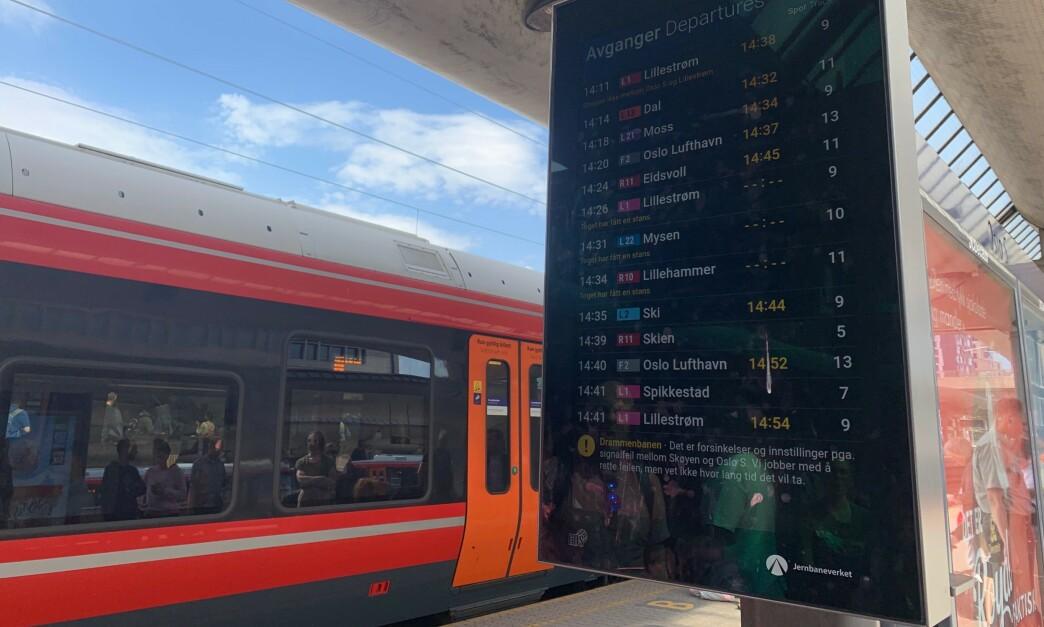FORSINKELSER? Dersom et tog kommer 3 minutter og 59 sekunder for sent, regnes det som forsinket, ifølge Bane NOR. Foto: Berit B. Njarga