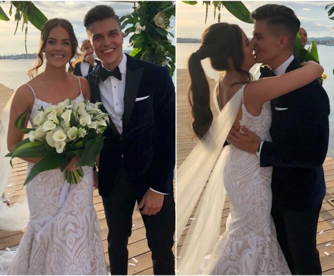STRÅLTE: Atle Pettersen og Cathrine Eide ga hverandre sitt ja i en romantisk seremoni i Hellas. Foto: Lars Gautneb